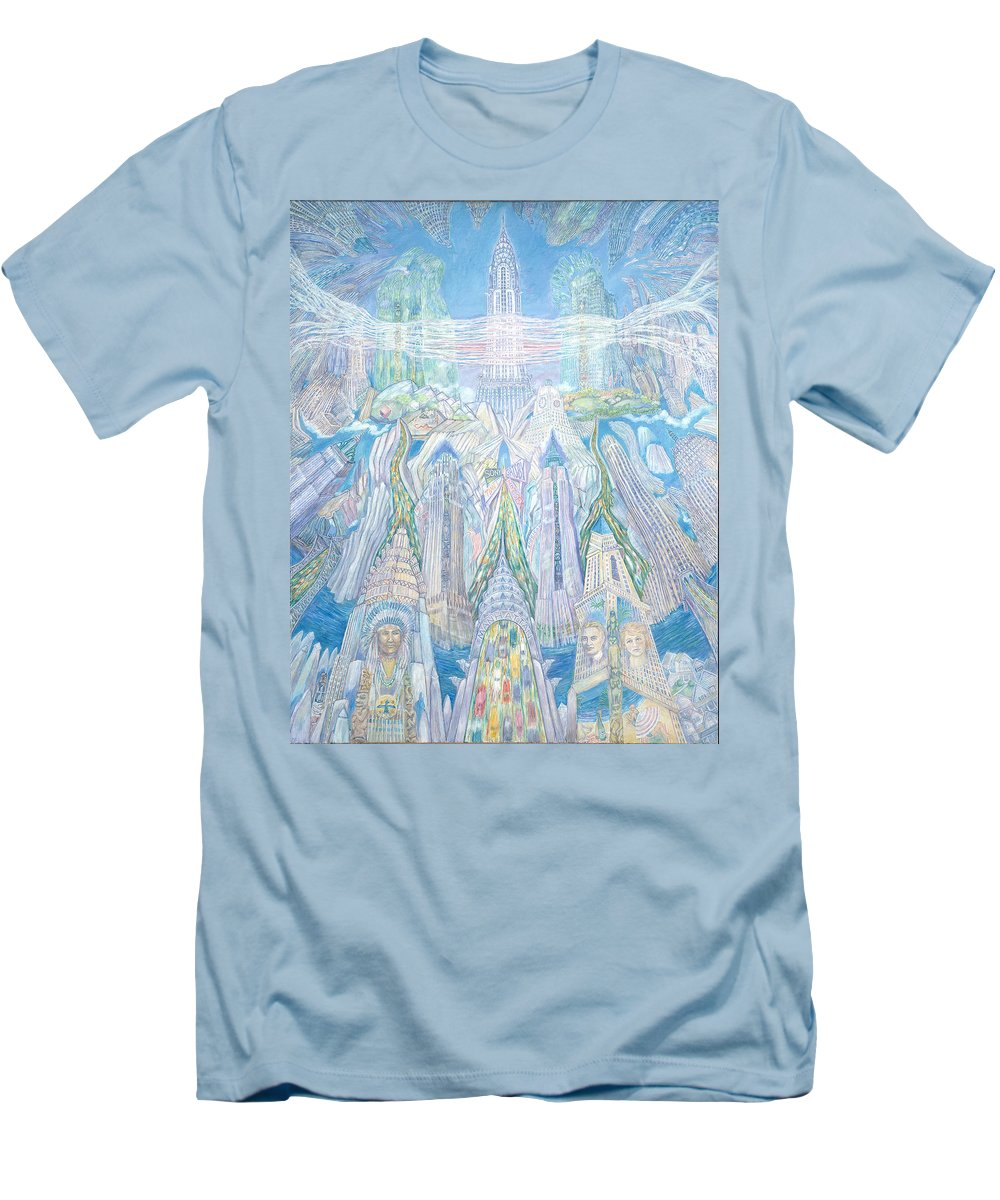 New York Cityscape Men's T-Shirt (Athletic Fit) featuring the painting Homage To New York And The Chrysler Building by Patricia Buckley