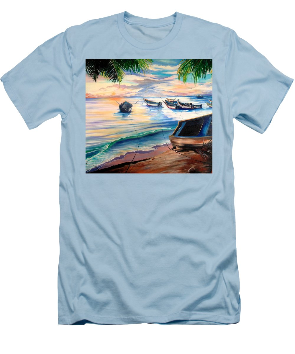 Ocean Painting Caribbean Painting Seascape Painting Beach Painting Fishing Boats Painting Sunset Painting Blue Palm Trees Fisherman Trinidad And Tobago Painting Tropical Painting Men's T-Shirt (Athletic Fit) featuring the painting Home From The Sea by Karin Dawn Kelshall- Best