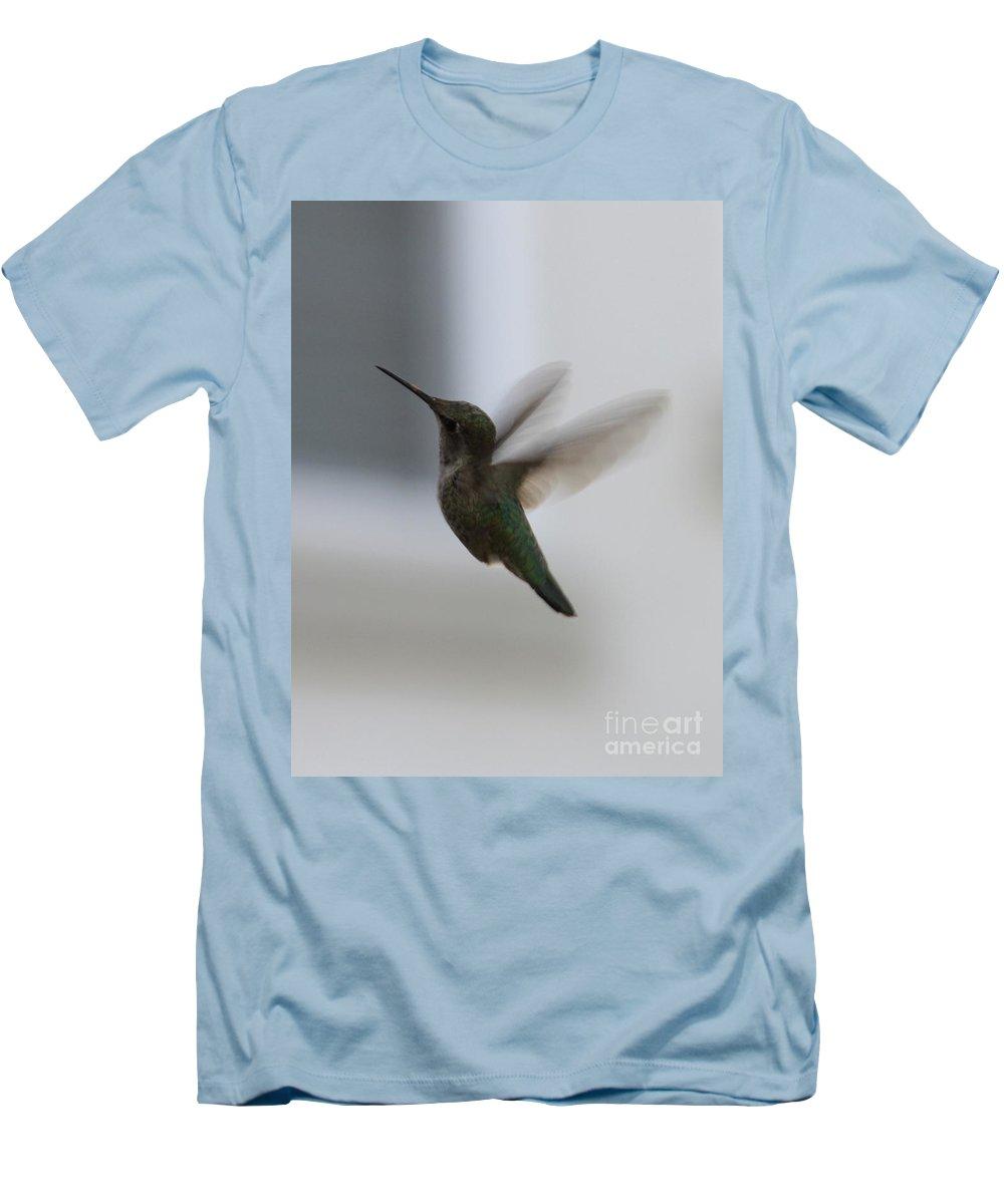 Hummingbird Men's T-Shirt (Athletic Fit) featuring the photograph Hummingbird In Flight by Carol Groenen
