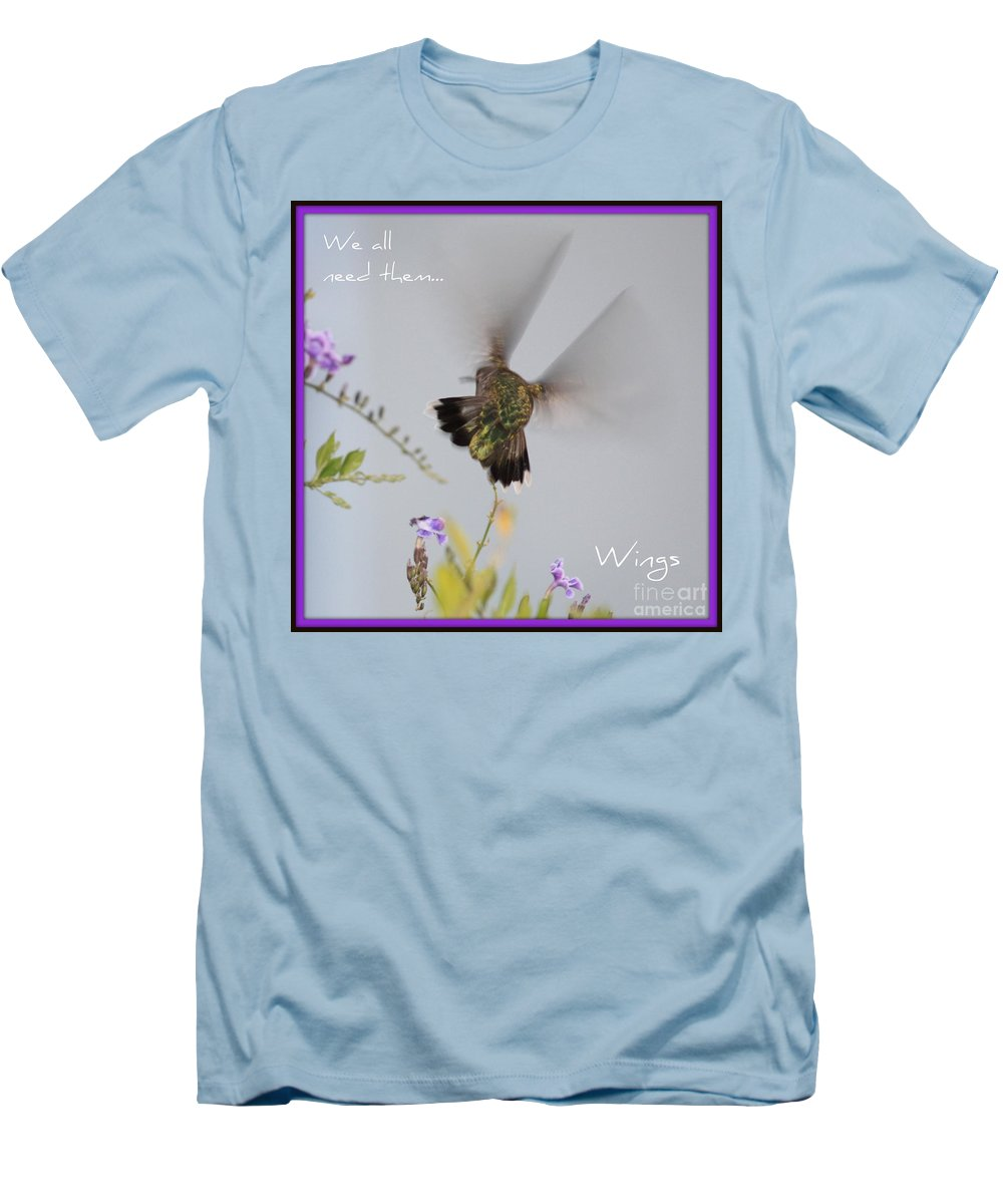 Digital Art Men's T-Shirt (Athletic Fit) featuring the photograph Hummingbird Wings by Carol Groenen