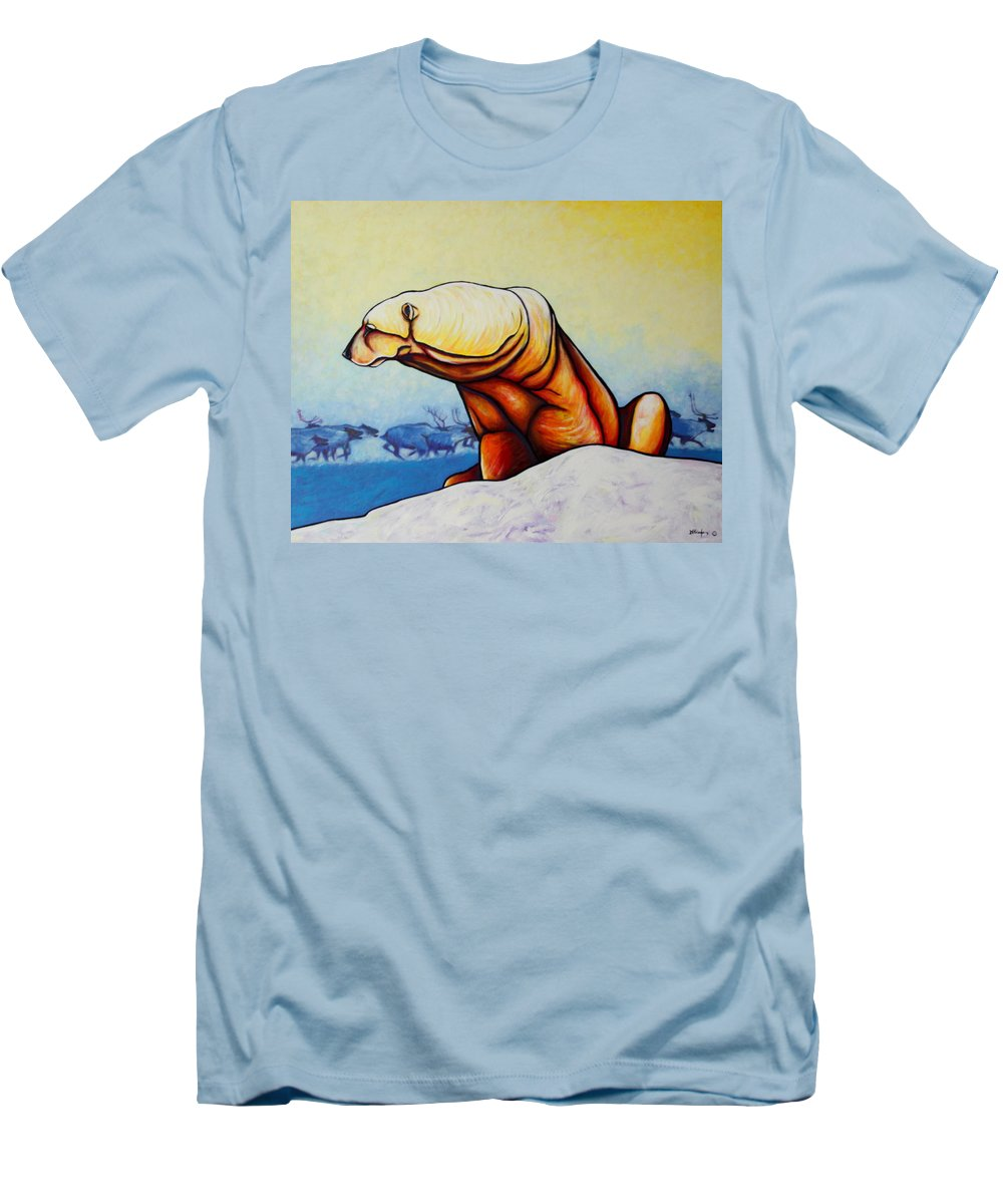 Wildlife Men's T-Shirt (Athletic Fit) featuring the painting Hunger Burns - Polar Bear And Caribou by Joe Triano