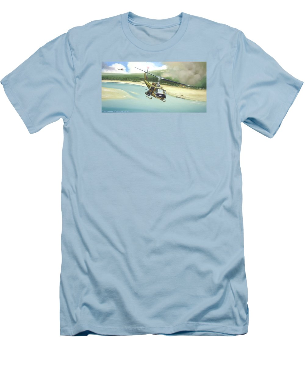 Military Men's T-Shirt (Athletic Fit) featuring the painting Hunter Hueys by Marc Stewart