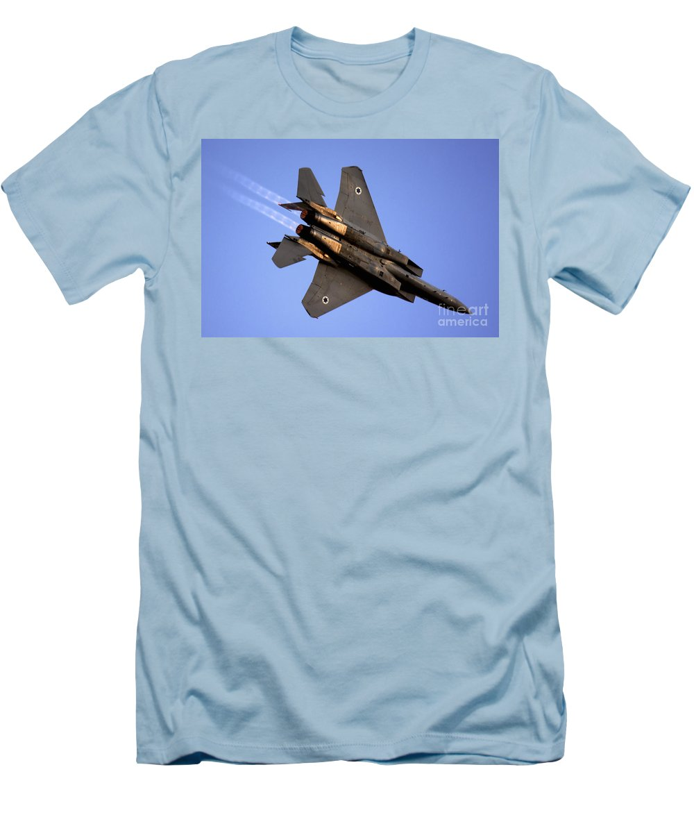 Aircraft Men's T-Shirt (Athletic Fit) featuring the photograph Iaf F15i Fighter Jet On Blue Sky by Nir Ben-Yosef
