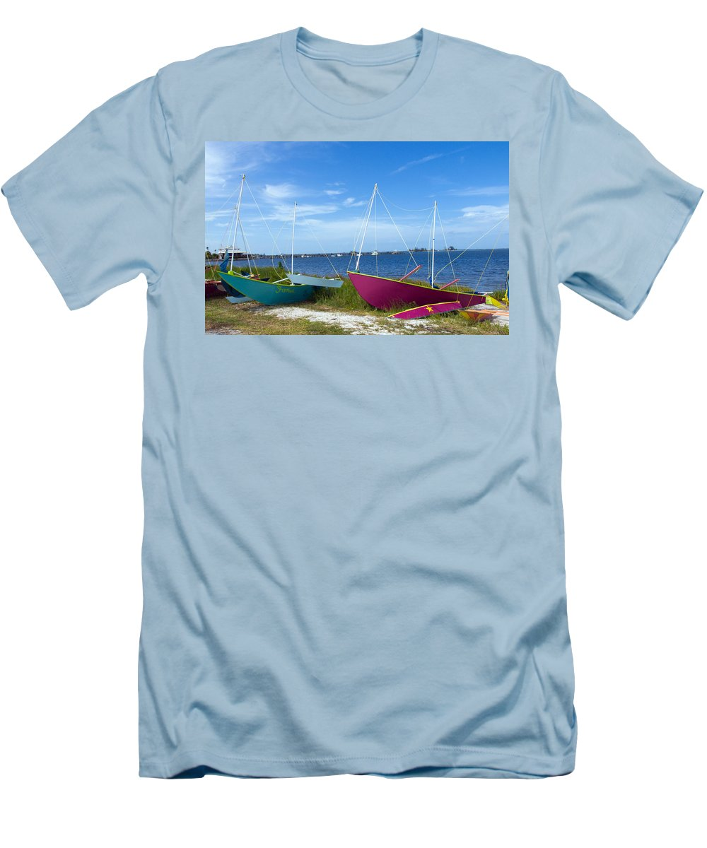 Sail; Sailing; Boat; Sailboat; Mast; Plywood; Homemade; Boy; Scouts; Fleet; Class; Dragon; Tiller; F Men's T-Shirt (Athletic Fit) featuring the photograph Indian River Lagoon On The Easr Coast Of Florida by Allan Hughes