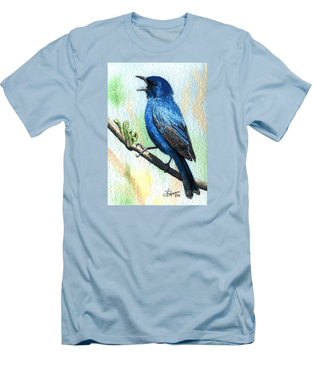 Bird Men's T-Shirt (Athletic Fit) featuring the painting Indigo Bunting by Lynn Quinn