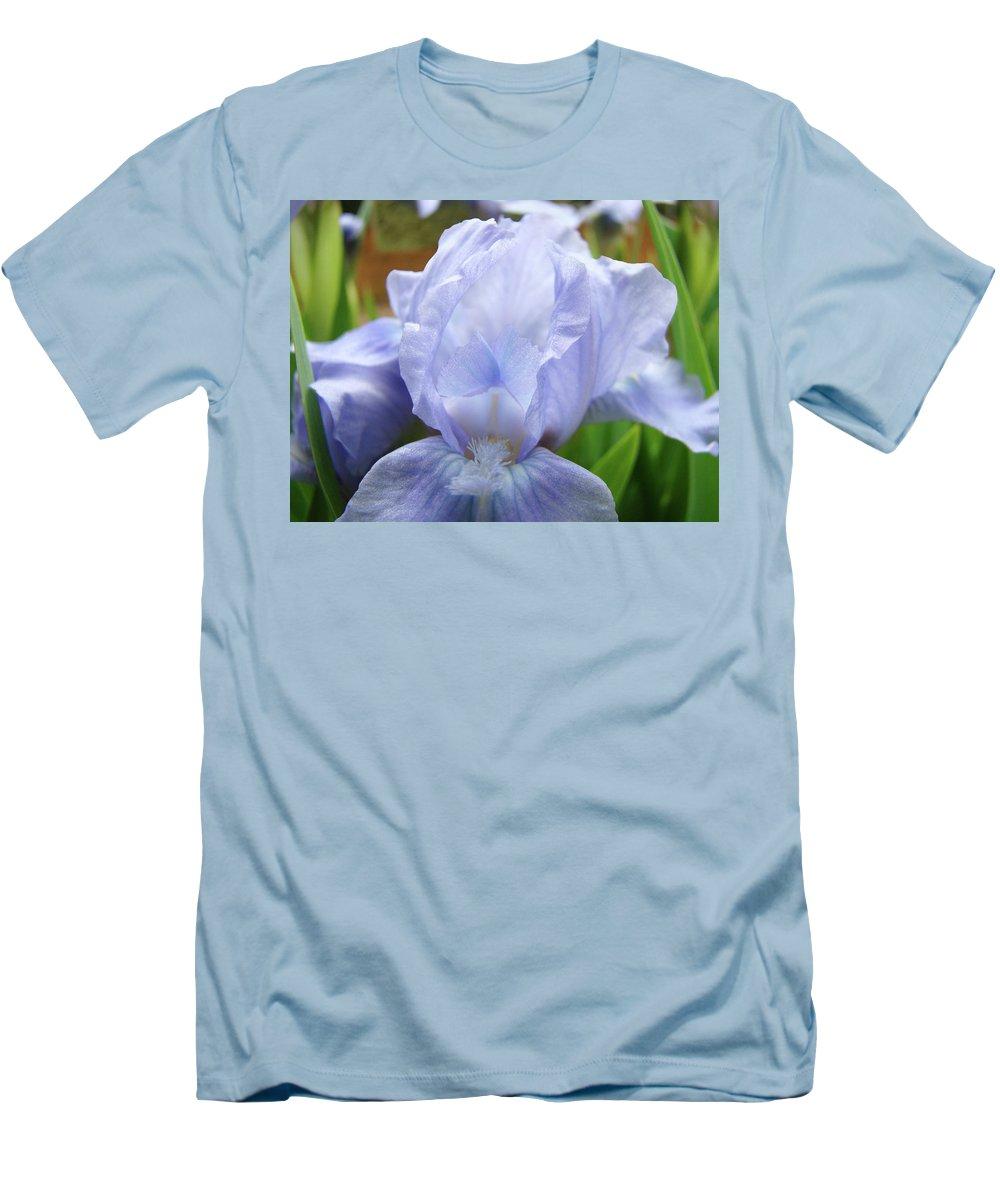 �irises Artwork� Men's T-Shirt (Athletic Fit) featuring the photograph Irises Blue Iris Flower Light Blue Art Flower Soft Baby Blue Baslee Troutman by Baslee Troutman