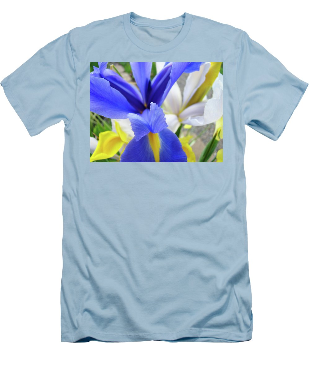 �irises Artwork� Men's T-Shirt (Athletic Fit) featuring the photograph Irises Flowers Artwork Blue Purple Iris Flowers 1 Botanical Floral Garden Baslee Troutman by Baslee Troutman