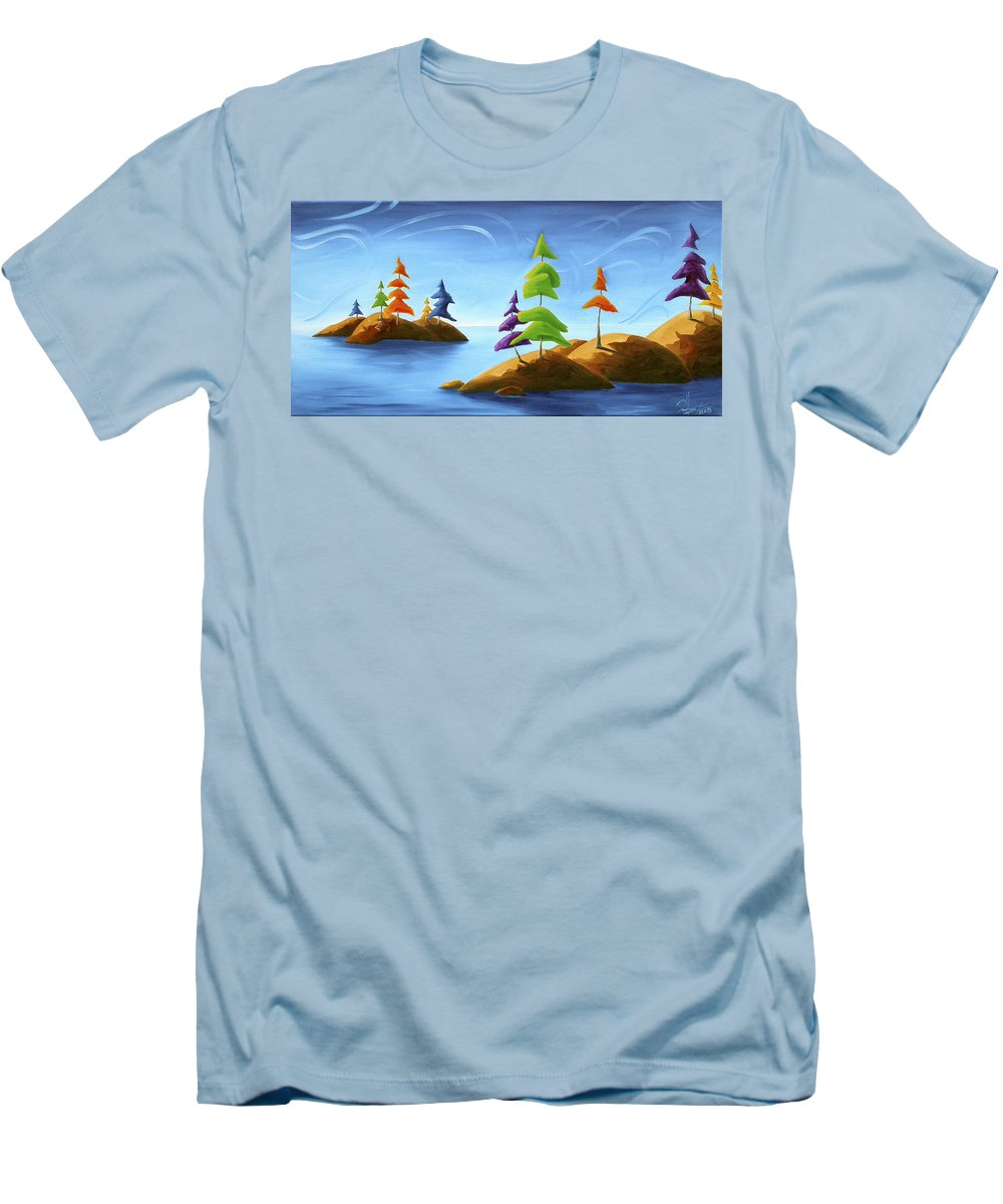 Landscape Men's T-Shirt (Athletic Fit) featuring the painting Island Carnival by Richard Hoedl