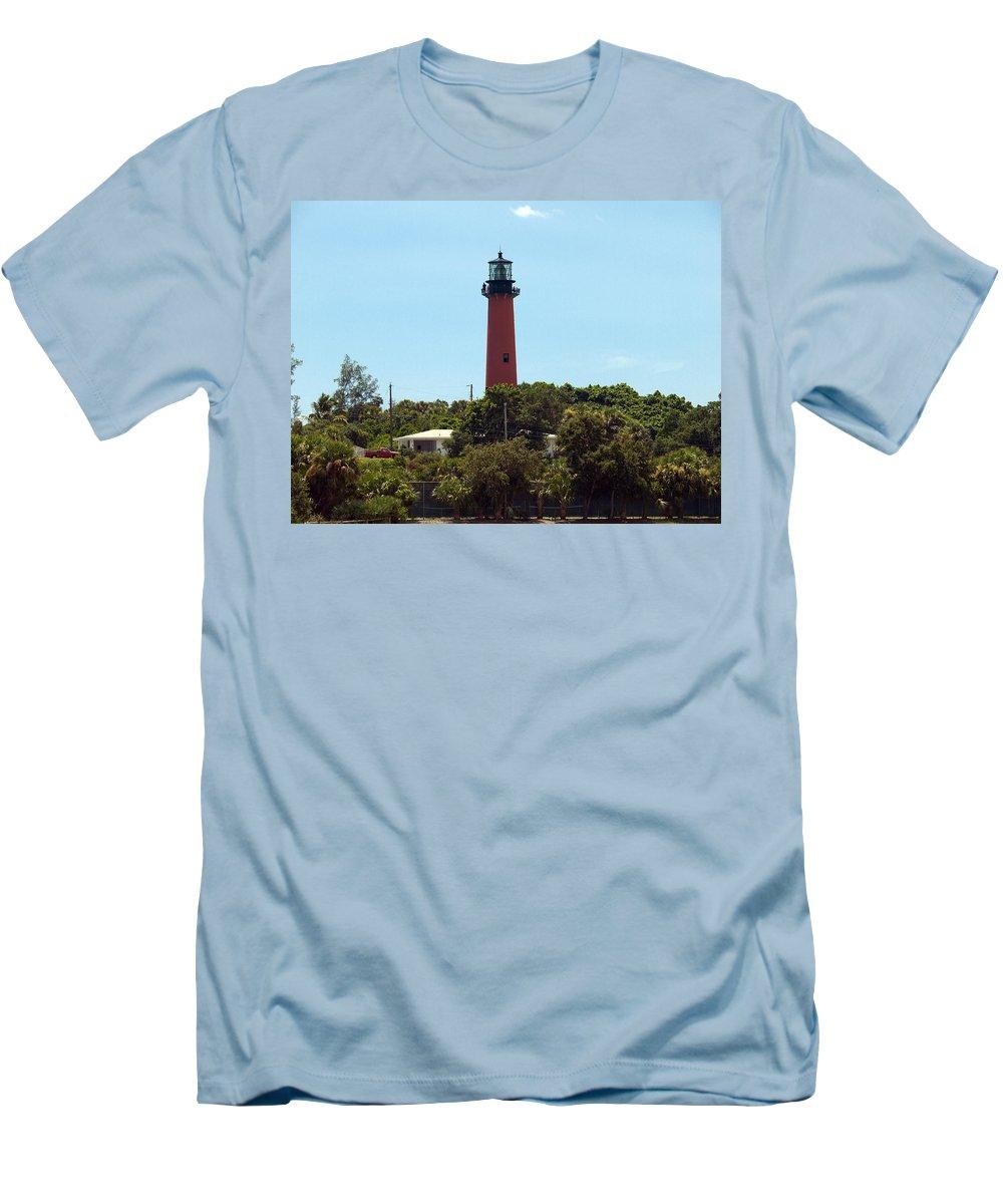 Florida; Juptier; Inlet; Loxahatchee; River; Atlantic; Coast; Shore; Beach; Light; Lighthouse; Beaco Men's T-Shirt (Athletic Fit) featuring the photograph Jupiter Inlet Light by Allan Hughes
