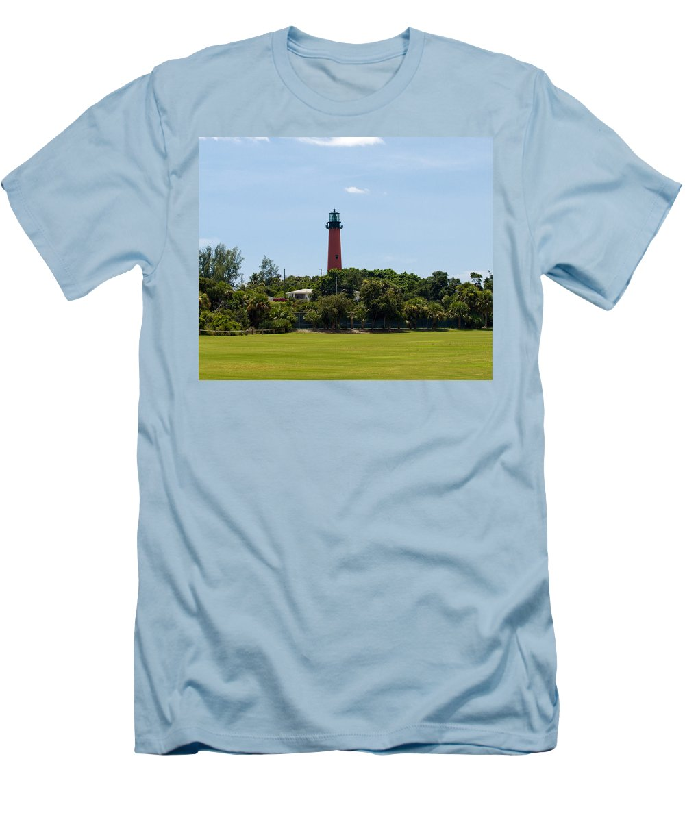 Florida; Juptier; Inlet; Loxahatchee; River; Atlantic; Coast; Shore; Beach; Light; Lighthouse; Beaco Men's T-Shirt (Athletic Fit) featuring the photograph Jupiter Inlet Lighthouse by Allan Hughes