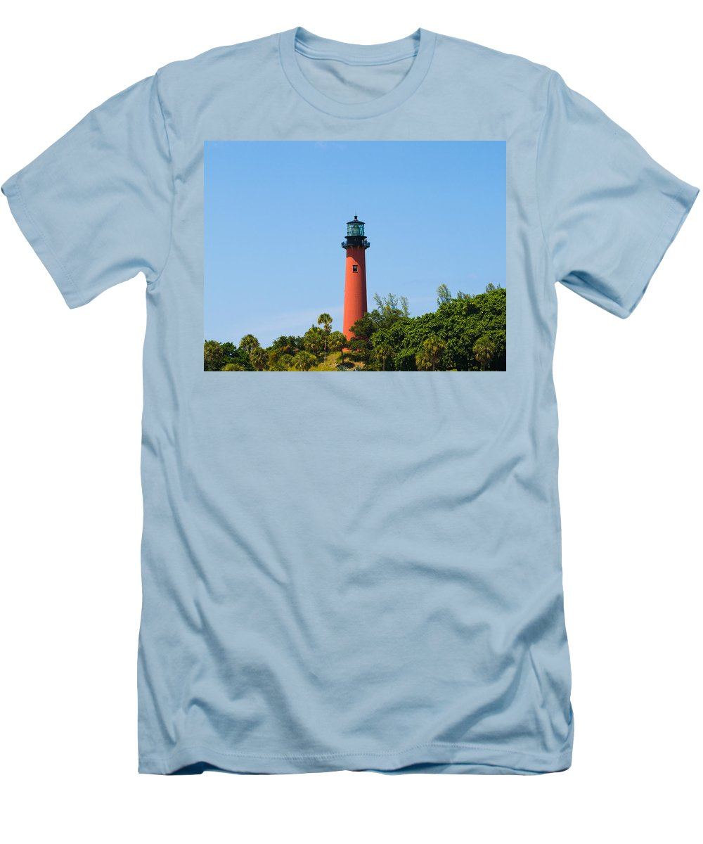 Florida; Juptier; Inlet; Loxahatchee; River; Atlantic; Coast; Shore; Beach; Light; Lighthouse; Beaco Men's T-Shirt (Athletic Fit) featuring the photograph Jupiter Light In Florida by Allan Hughes