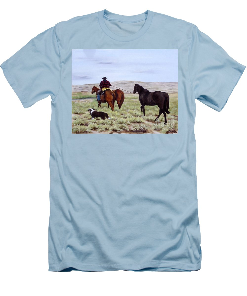 Art Men's T-Shirt (Athletic Fit) featuring the painting Just Might Rain by Mary Rogers