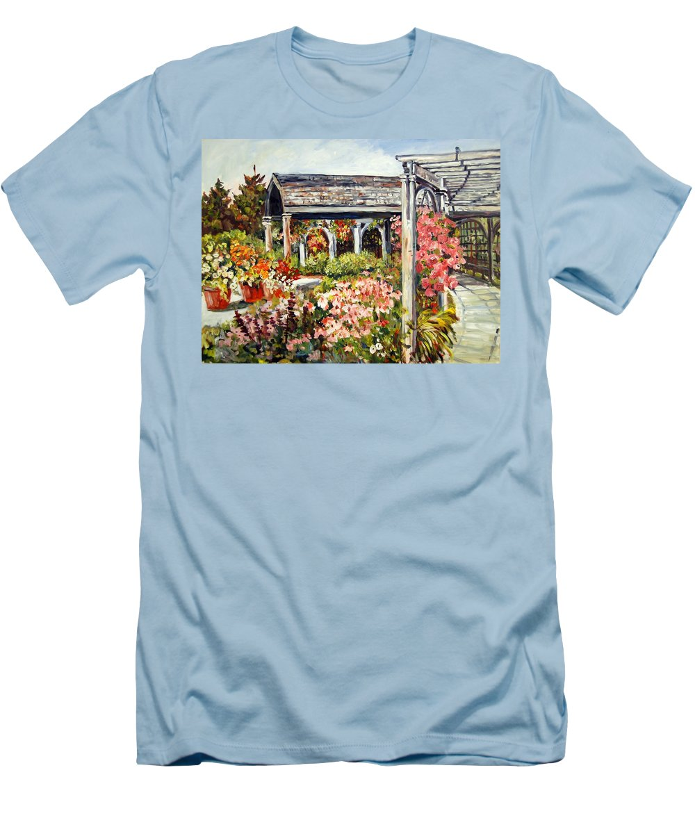 Landscape Men's T-Shirt (Athletic Fit) featuring the painting Klehm Arboretum I by Alexandra Maria Ethlyn Cheshire