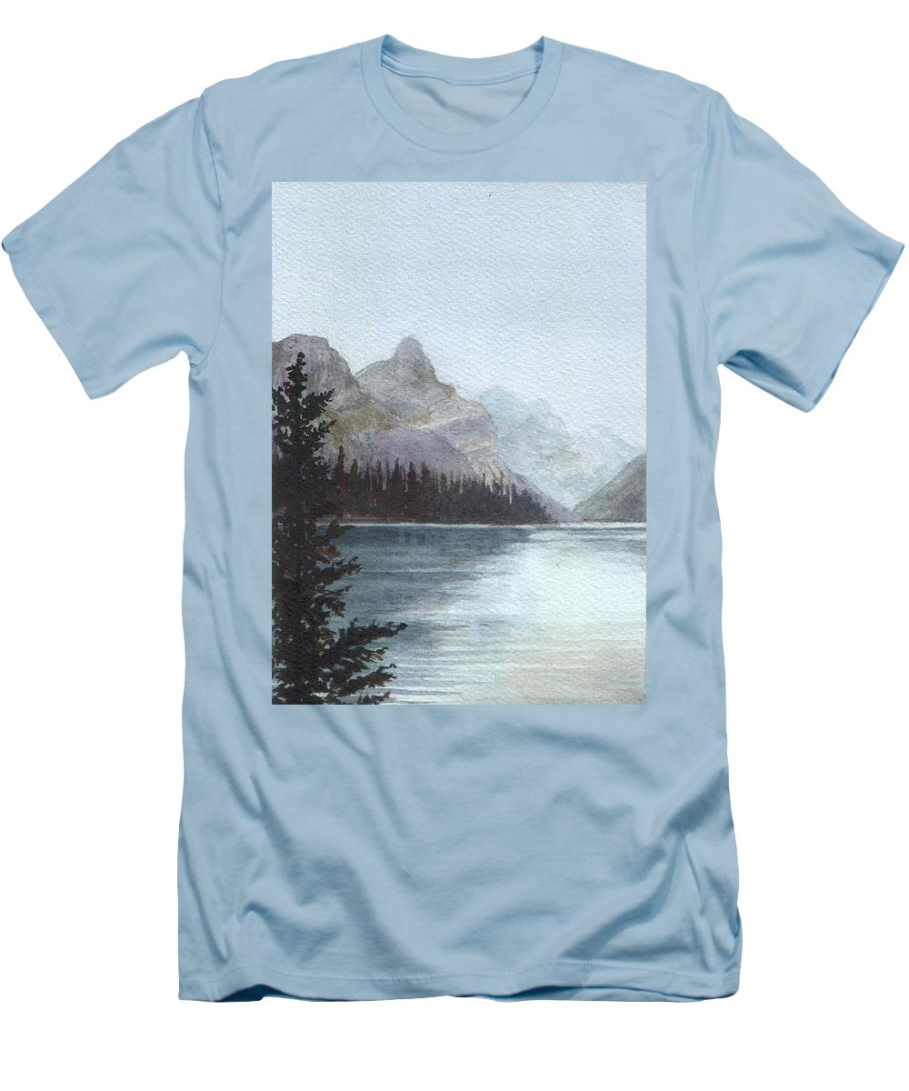 Watercolor Men's T-Shirt (Athletic Fit) featuring the painting Lake Helevorn by Brenda Owen