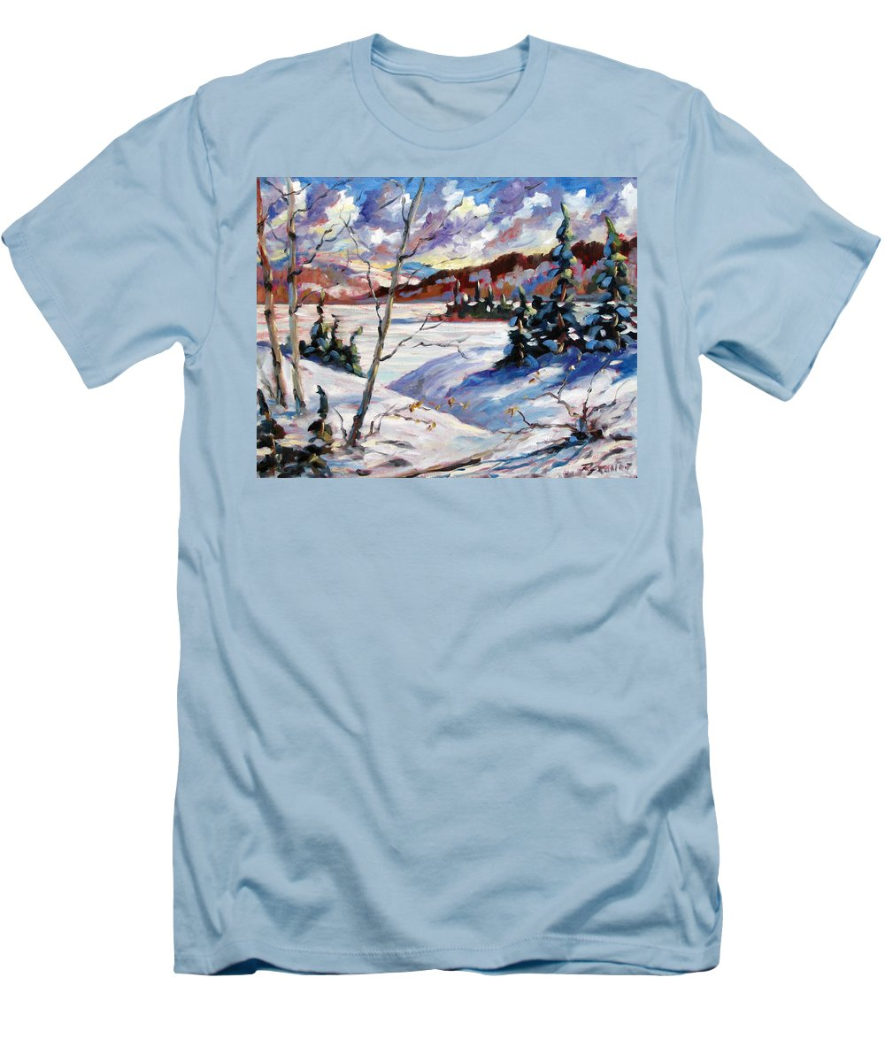 Lake Men's T-Shirt (Athletic Fit) featuring the painting Lake In Winter by Richard T Pranke