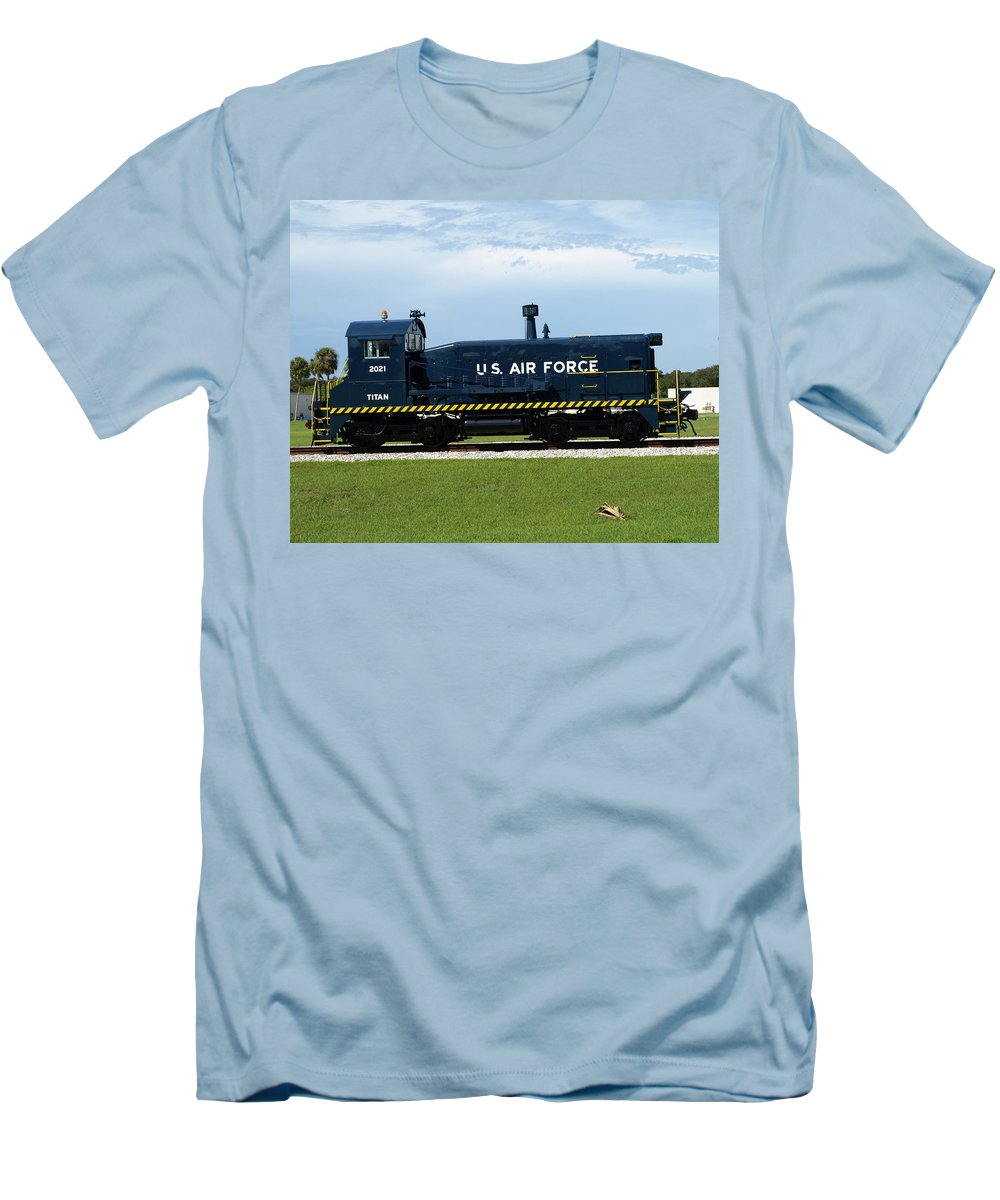 Airforce; Air Force; Air; Force; U.s.; Locomotive; Engine; Rail; Road; Railroad; Railway; Train; Gro Men's T-Shirt (Athletic Fit) featuring the photograph Locomotive For Titan Rockets At Cape Canaveral In Florida by Allan Hughes
