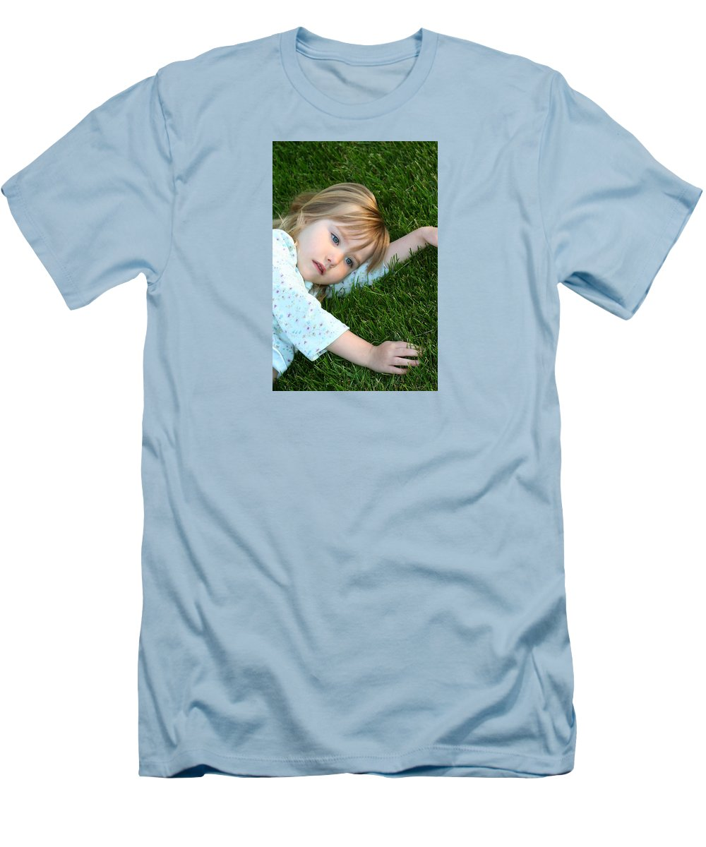 Girl Men's T-Shirt (Athletic Fit) featuring the photograph Lying In The Grass by Margie Wildblood