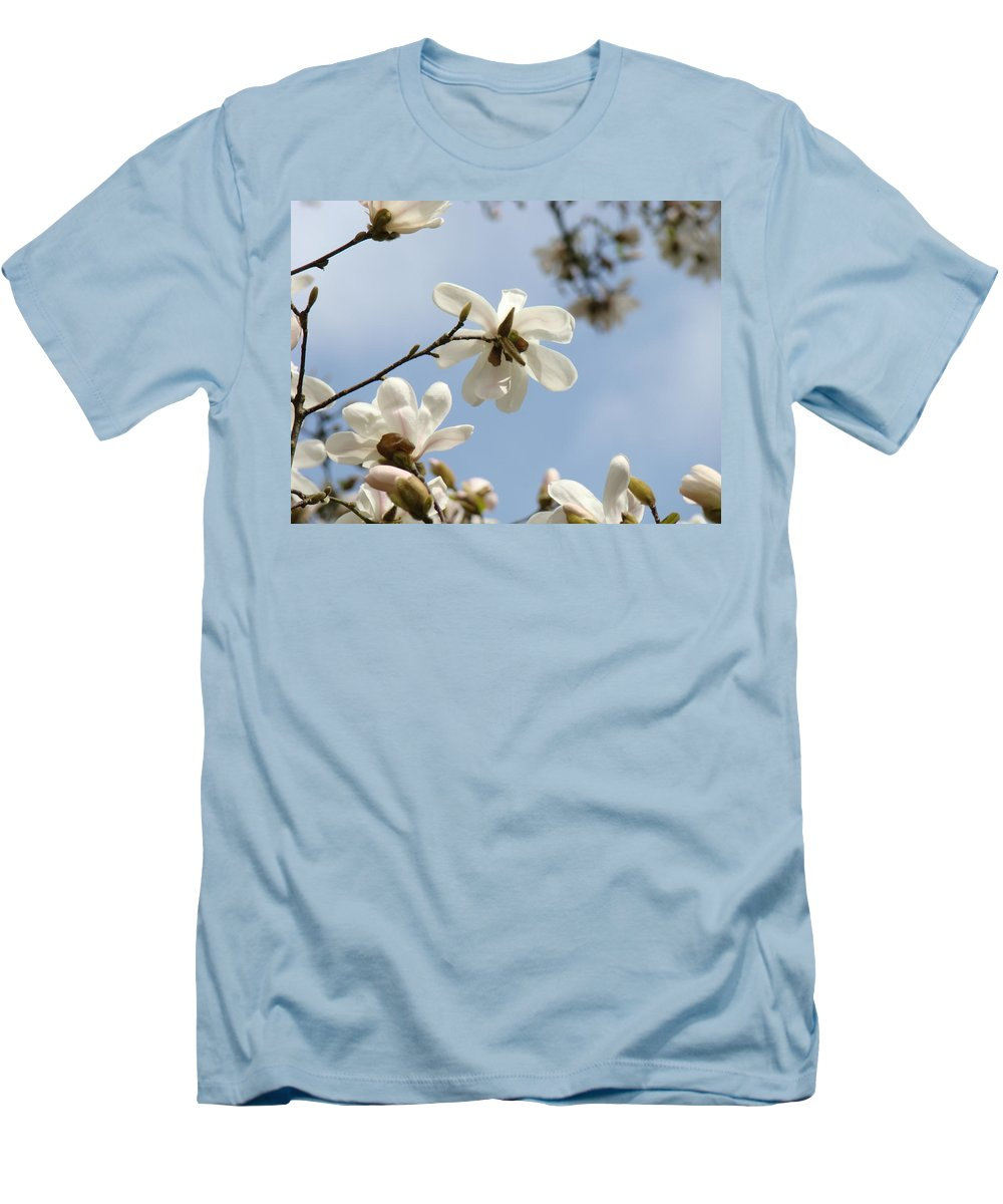 Magnolia Men's T-Shirt (Athletic Fit) featuring the photograph Magnolia Flowers White Magnolia Tree Art 2 Blue Sky Giclee Prints Baslee Troutman by Baslee Troutman