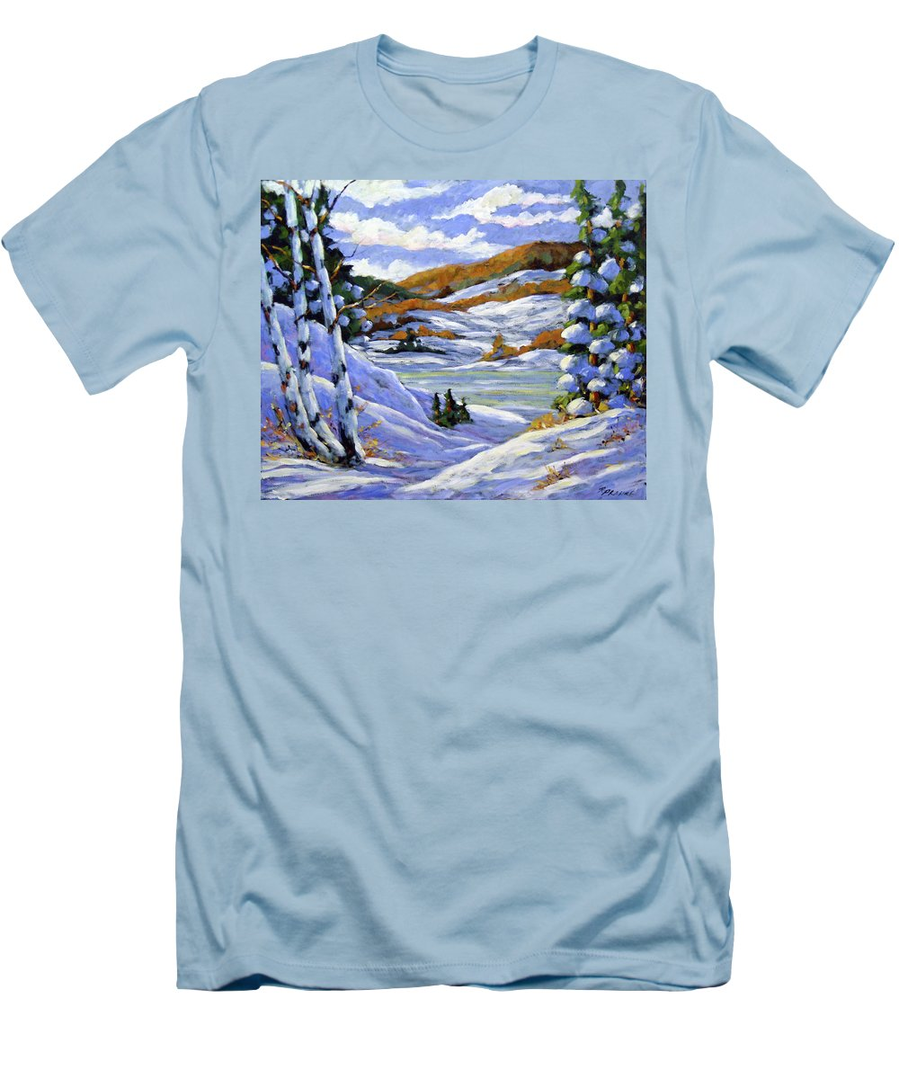 Art Men's T-Shirt (Athletic Fit) featuring the painting Majestic Winter by Richard T Pranke