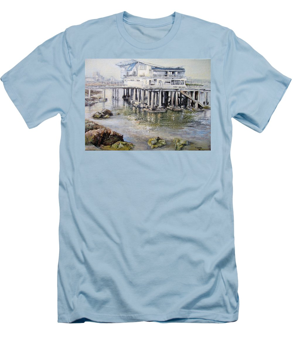Maritim Men's T-Shirt (Athletic Fit) featuring the painting Maritim Club Castro Urdiales by Tomas Castano