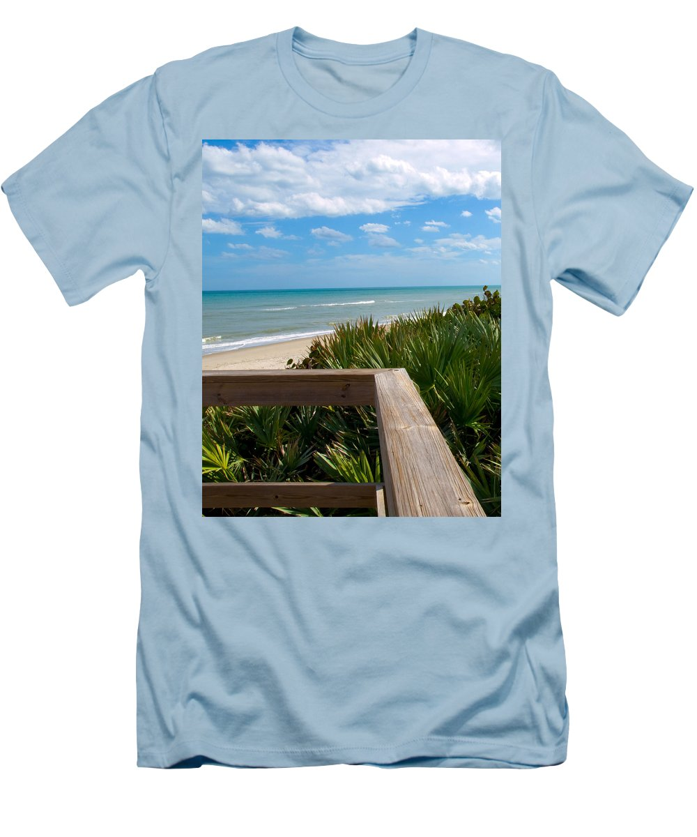 Beach; February; Florida; Warm; Warmth; Temperature; Degrees; Weather; Sun; Melbourne; Sand; Shore; Men's T-Shirt (Athletic Fit) featuring the photograph Melbourne Beach In Florida by Allan Hughes