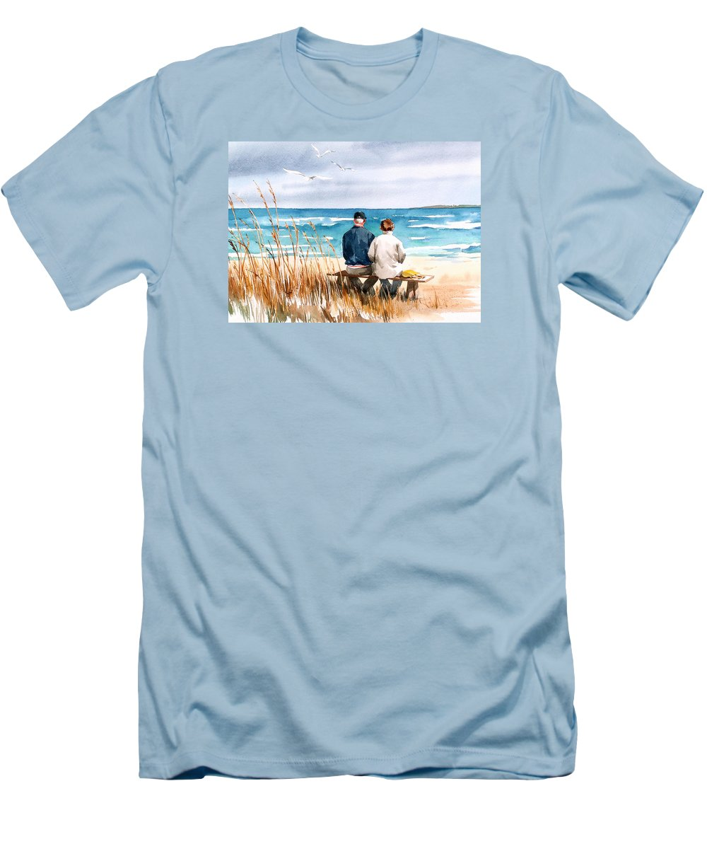 Couple On Beach Men's T-Shirt (Athletic Fit) featuring the painting Memories by Art Scholz