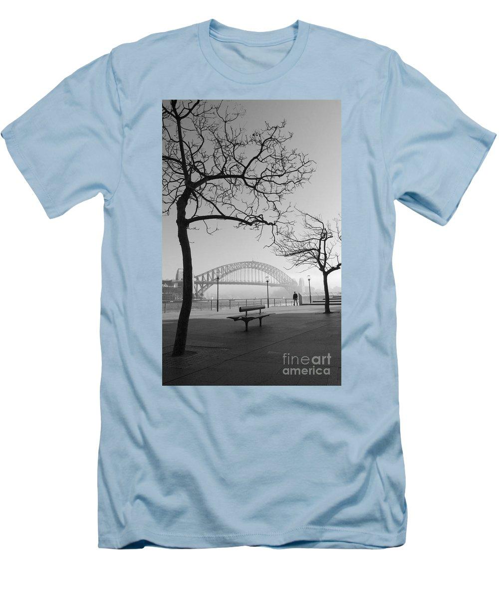 Sydney Harbour Bridge Mist Australia Men's T-Shirt (Athletic Fit) featuring the photograph Misty Sydney Morning by Avalon Fine Art Photography
