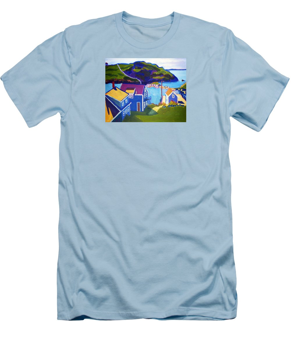 Seascape Men's T-Shirt (Athletic Fit) featuring the painting Monhegan Harbor by Debra Bretton Robinson