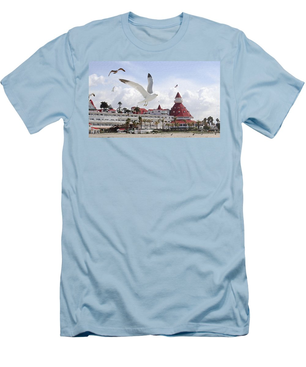 Beach Men's T-Shirt (Athletic Fit) featuring the photograph Morning Gulls On Coronado by Margie Wildblood
