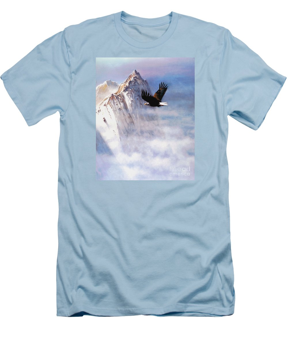 Eagle Men's T-Shirt (Athletic Fit) featuring the painting Mountain Majesty by Robert Foster