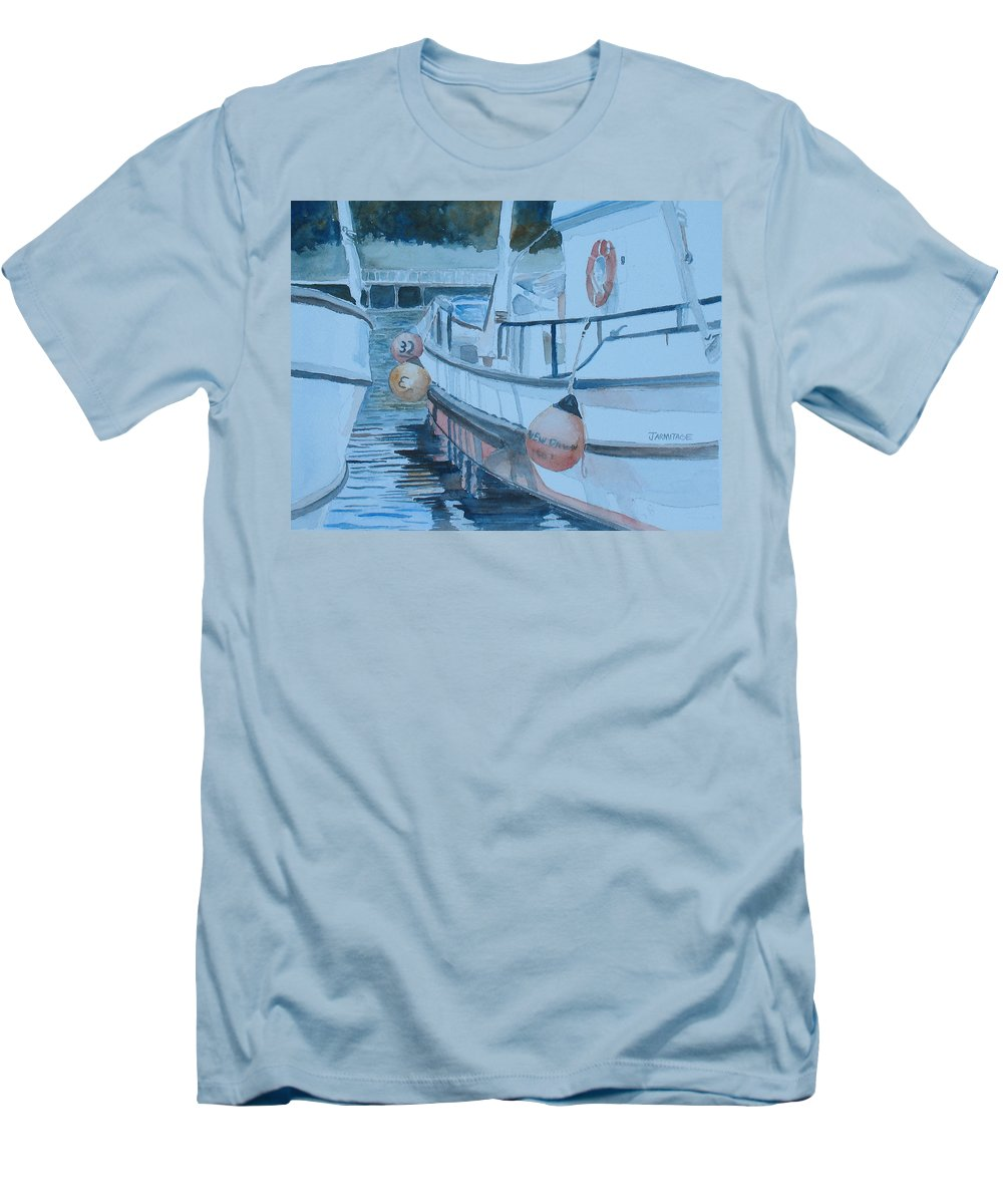 Marine Men's T-Shirt (Athletic Fit) featuring the painting New Dawn In The Late Afternoon by Jenny Armitage