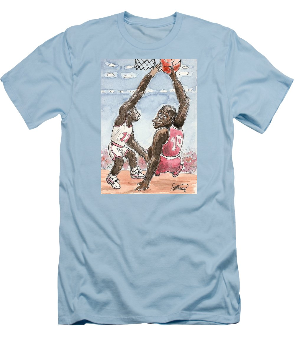 Basketbal Men's T-Shirt (Athletic Fit) featuring the painting No No No by George I Perez
