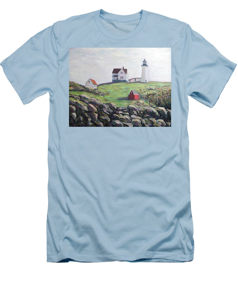 Maine Men's T-Shirt (Athletic Fit) featuring the painting Nubble Light House by Richard Nowak