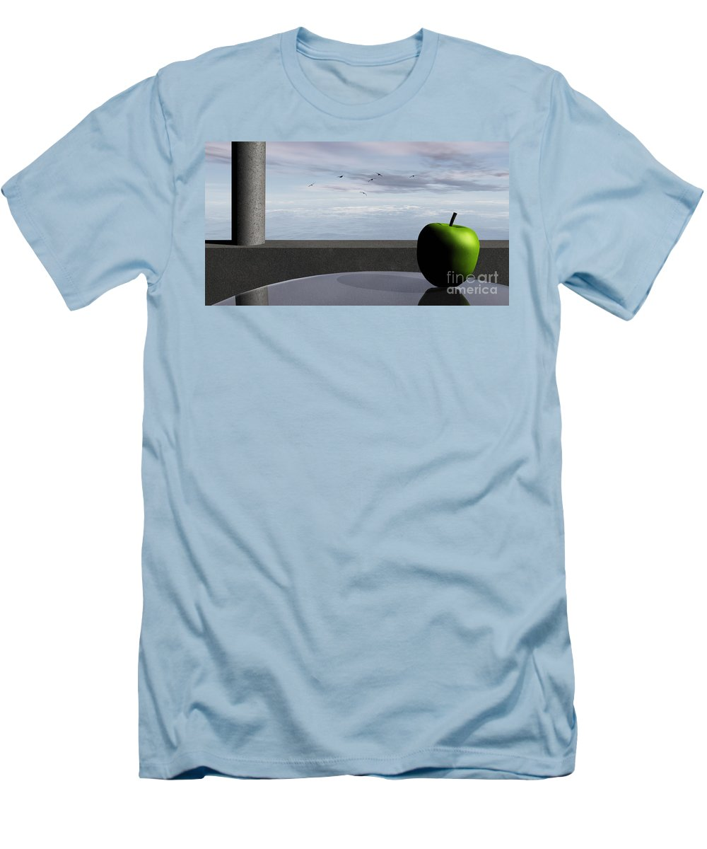 Modern Men's T-Shirt (Athletic Fit) featuring the digital art Ocean Balcony by Richard Rizzo