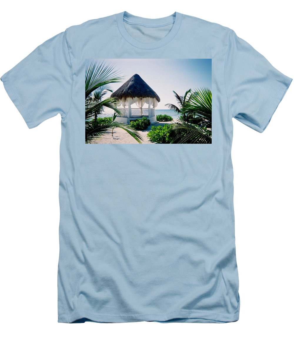 Resort Men's T-Shirt (Athletic Fit) featuring the photograph Ocean Gazebo by Anita Burgermeister