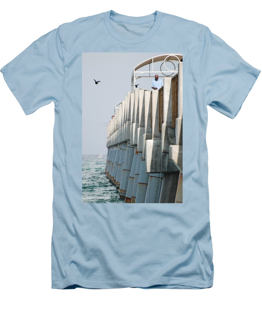 Fishing Men's T-Shirt (Athletic Fit) featuring the photograph Ocean Pier by Rob Hans