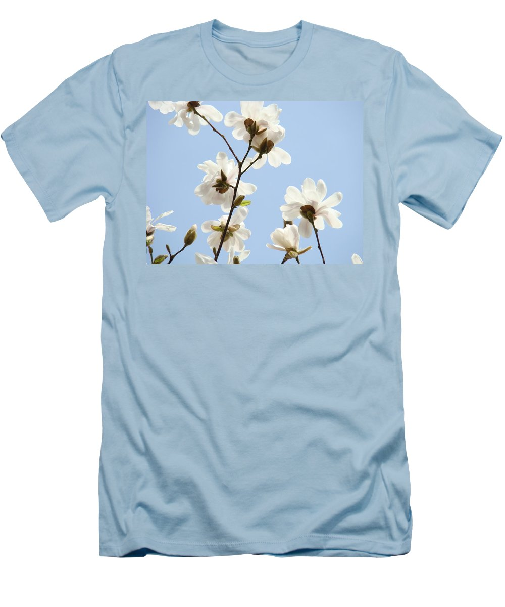 Blue Men's T-Shirt (Athletic Fit) featuring the photograph Office Art Prints Blue Sky White Magnolia Flowers 38 Giclee Prints Baslee Troutman by Baslee Troutman