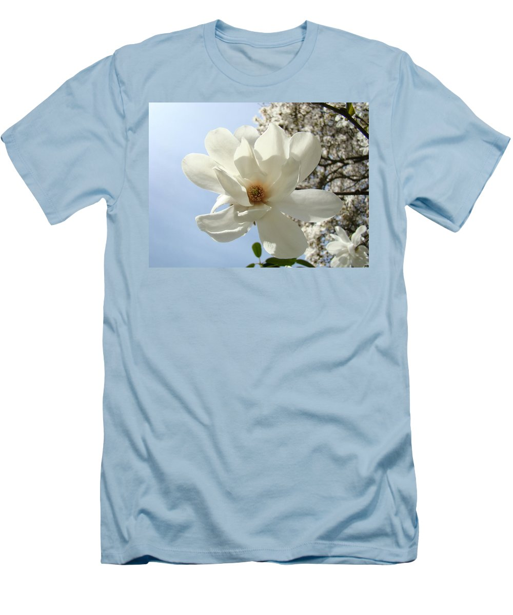 Magnolia Men's T-Shirt (Athletic Fit) featuring the photograph Office Art Prints White Magnolia Flower 66 Blue Sky Giclee Prints Baslee Troutman by Baslee Troutman