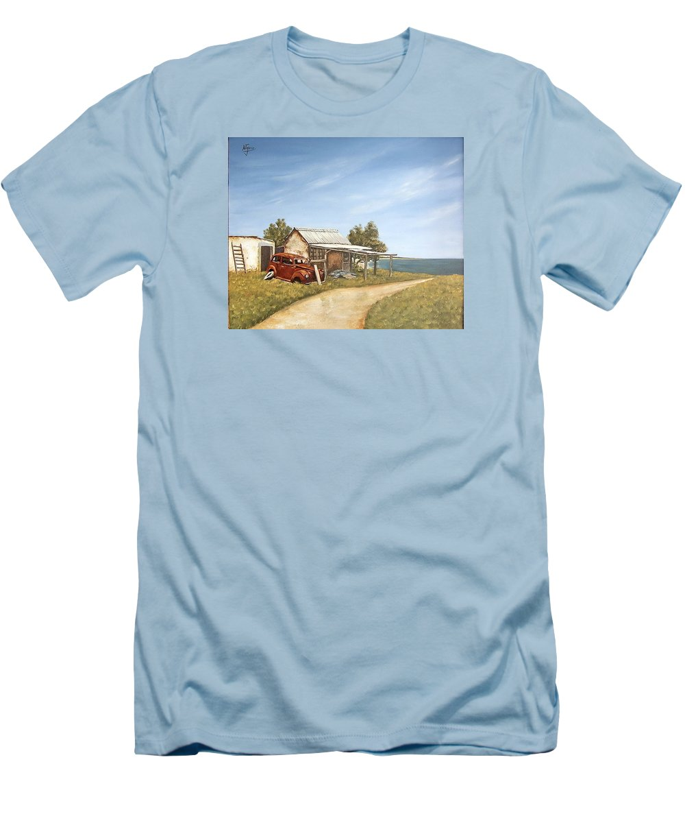Old House Sea Seascape Landscape Men's T-Shirt (Athletic Fit) featuring the painting Old House By The Sea by Natalia Tejera