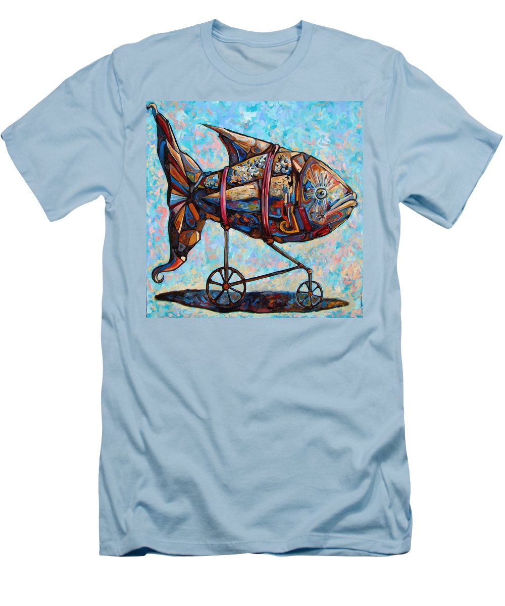 Surrealism Men's T-Shirt (Athletic Fit) featuring the painting On The Conquer For Land by Darwin Leon