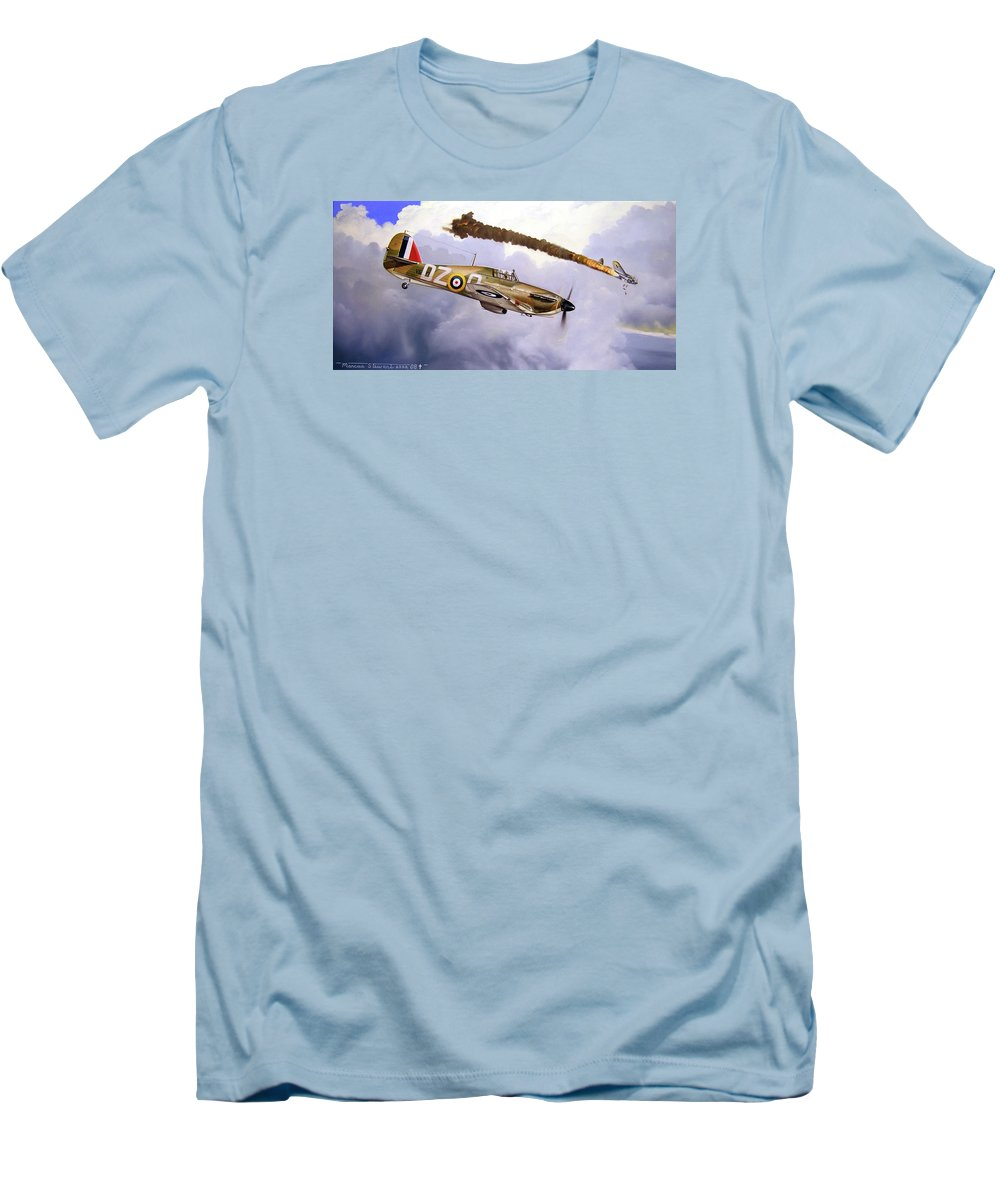 Aviation Art Men's T-Shirt (Athletic Fit) featuring the painting One Of The Few by Marc Stewart