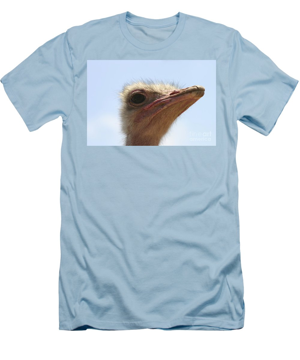 Ostrich Men's T-Shirt (Athletic Fit) featuring the photograph Ostrich Head Close Up by Danny Yanai