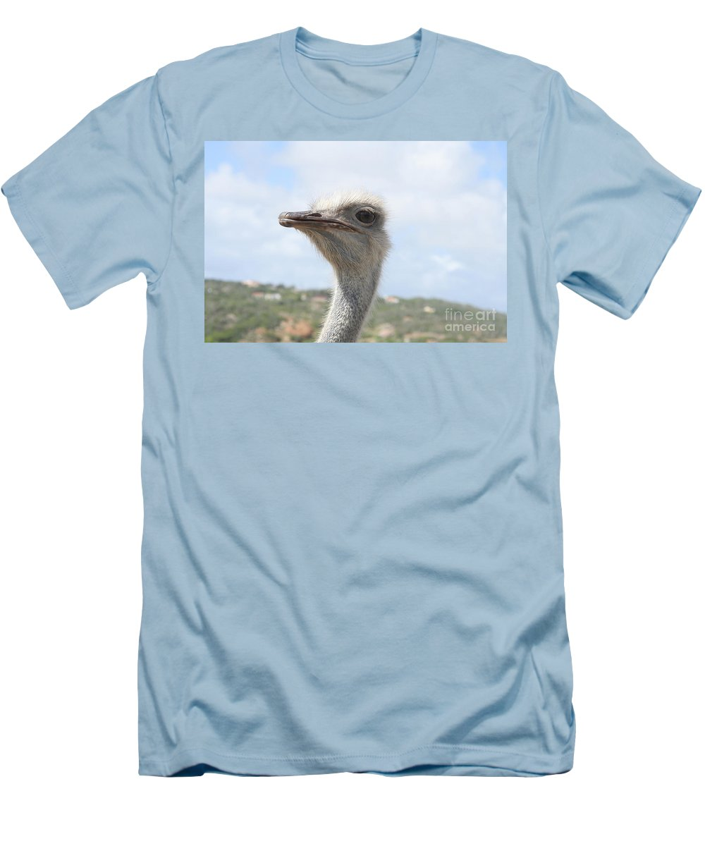 Ostrich Men's T-Shirt (Athletic Fit) featuring the photograph Ostrich Head II by Thomas Marchessault
