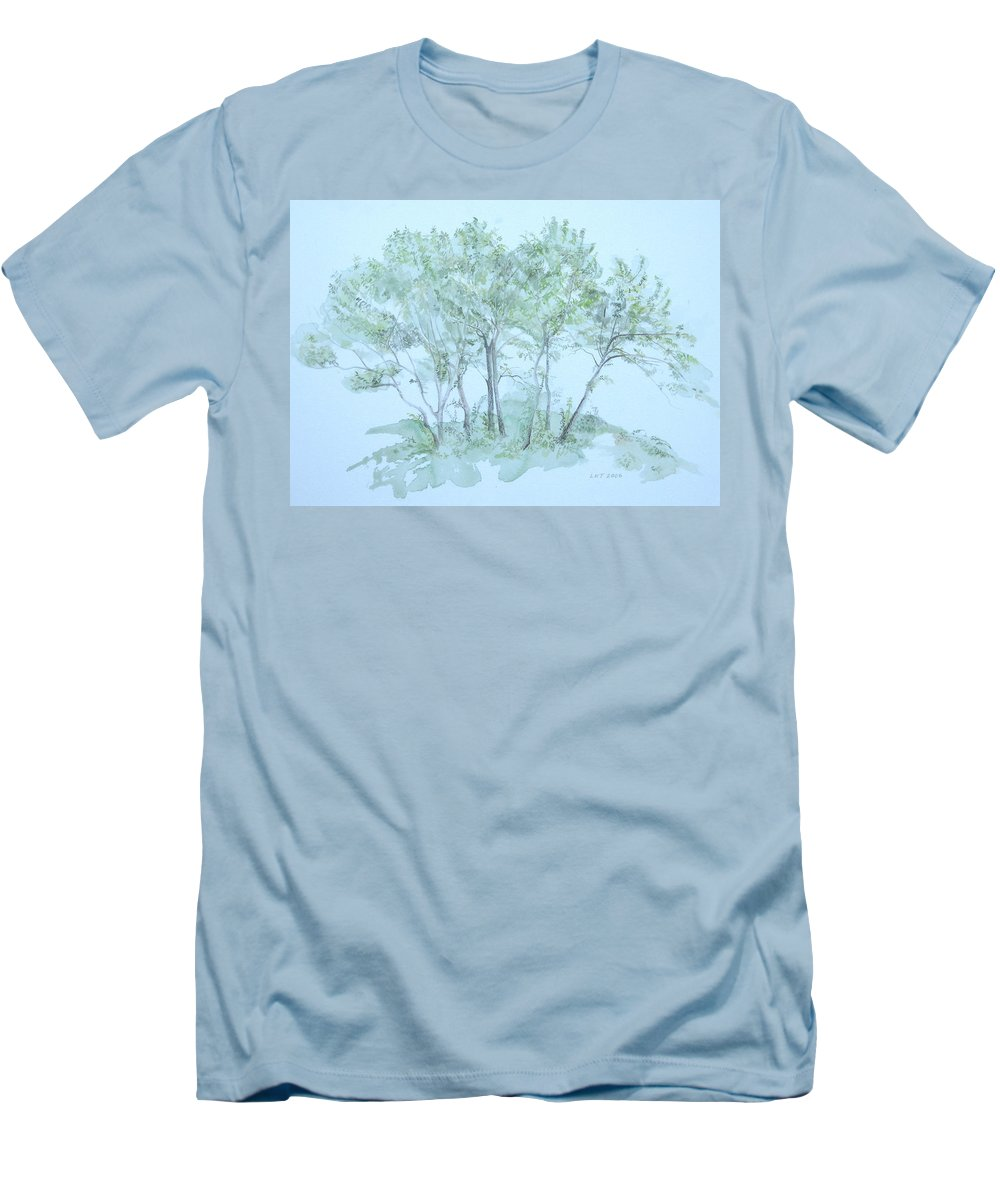 Trees Men's T-Shirt (Slim Fit) featuring the painting Outer Banks by Leah Tomaino
