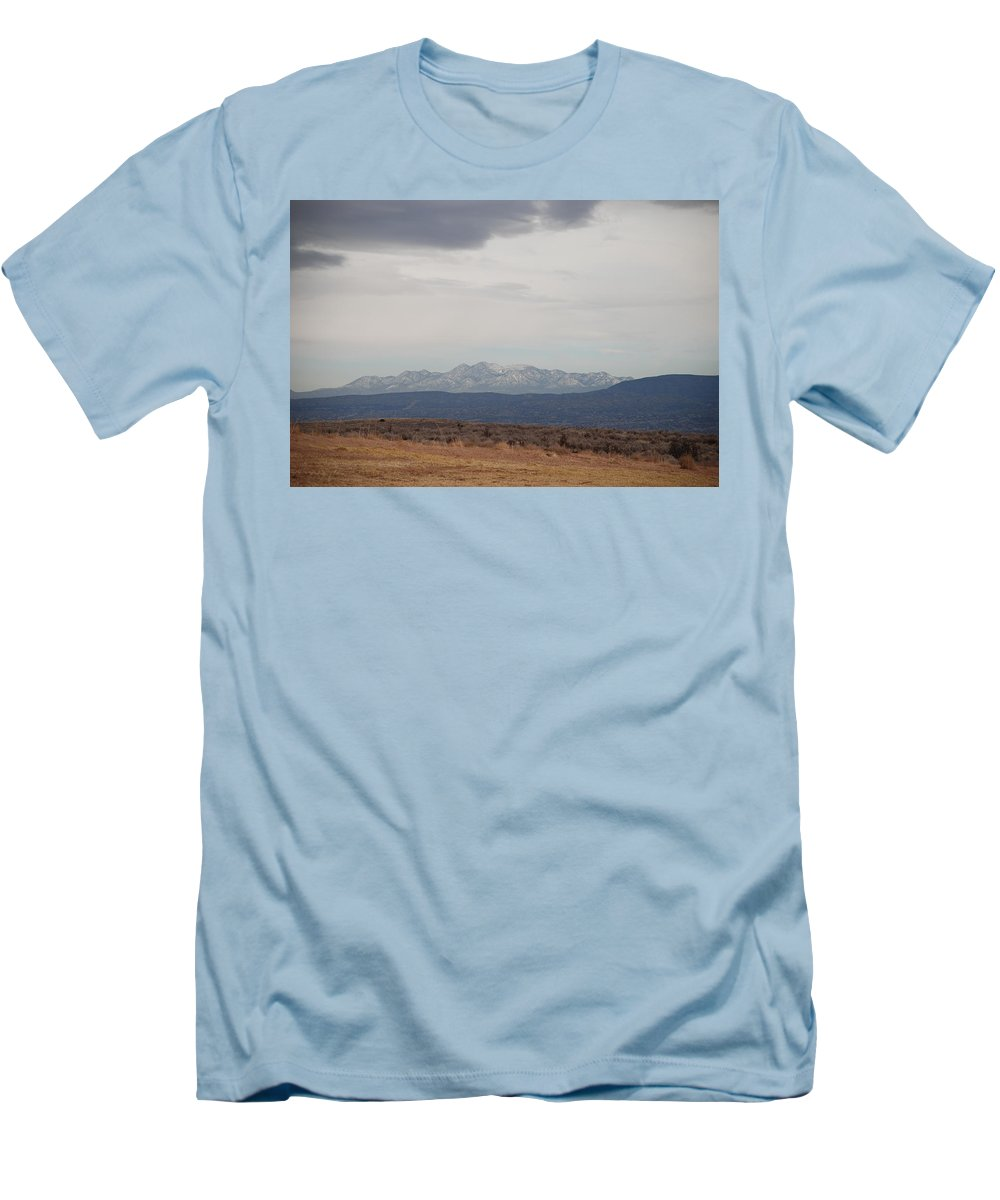 Mountains Men's T-Shirt (Athletic Fit) featuring the photograph Overcast On The Sandias by Rob Hans