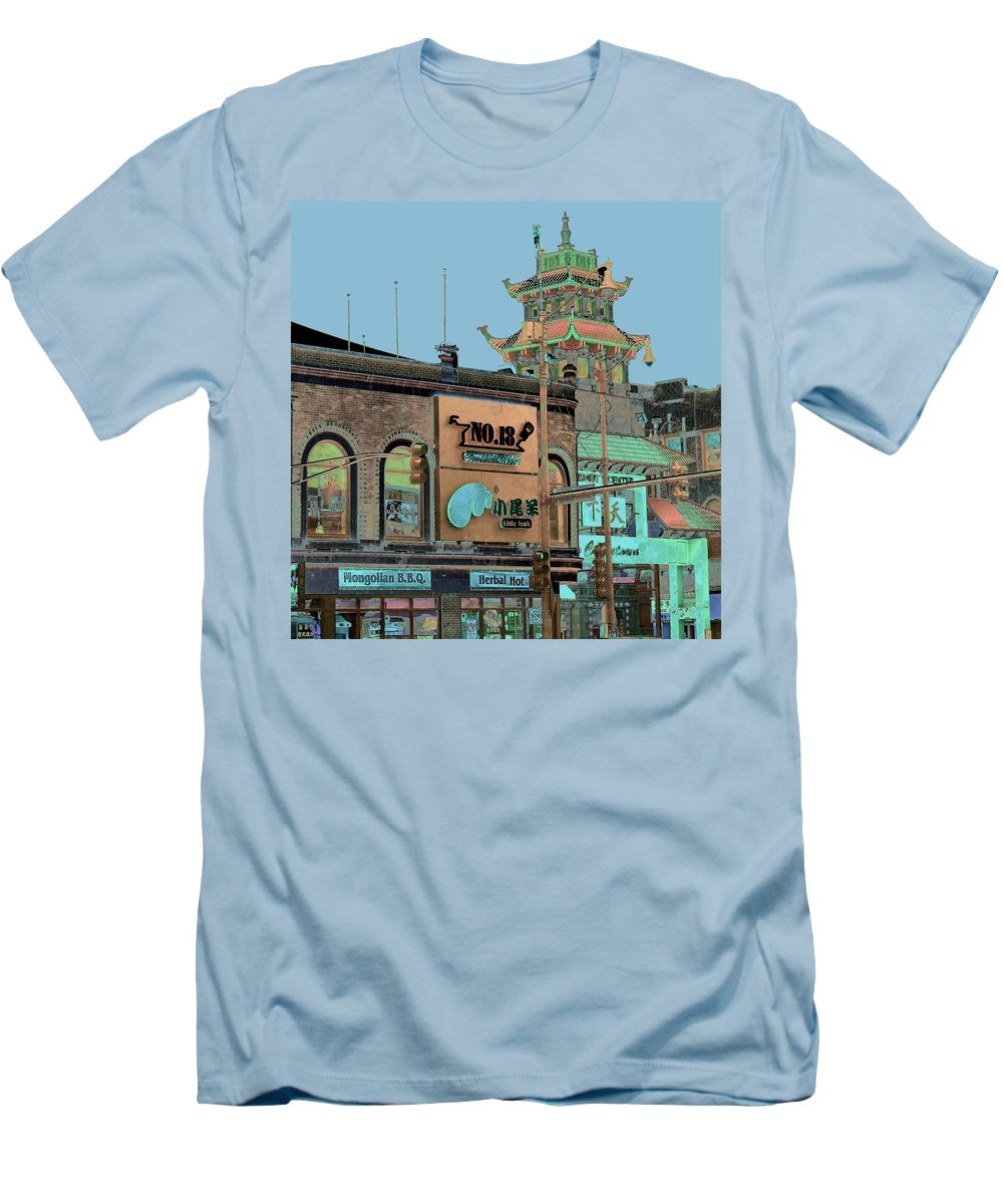 China Town Men's T-Shirt (Athletic Fit) featuring the photograph Pagoda Tower Chinatown Chicago by Marianne Dow