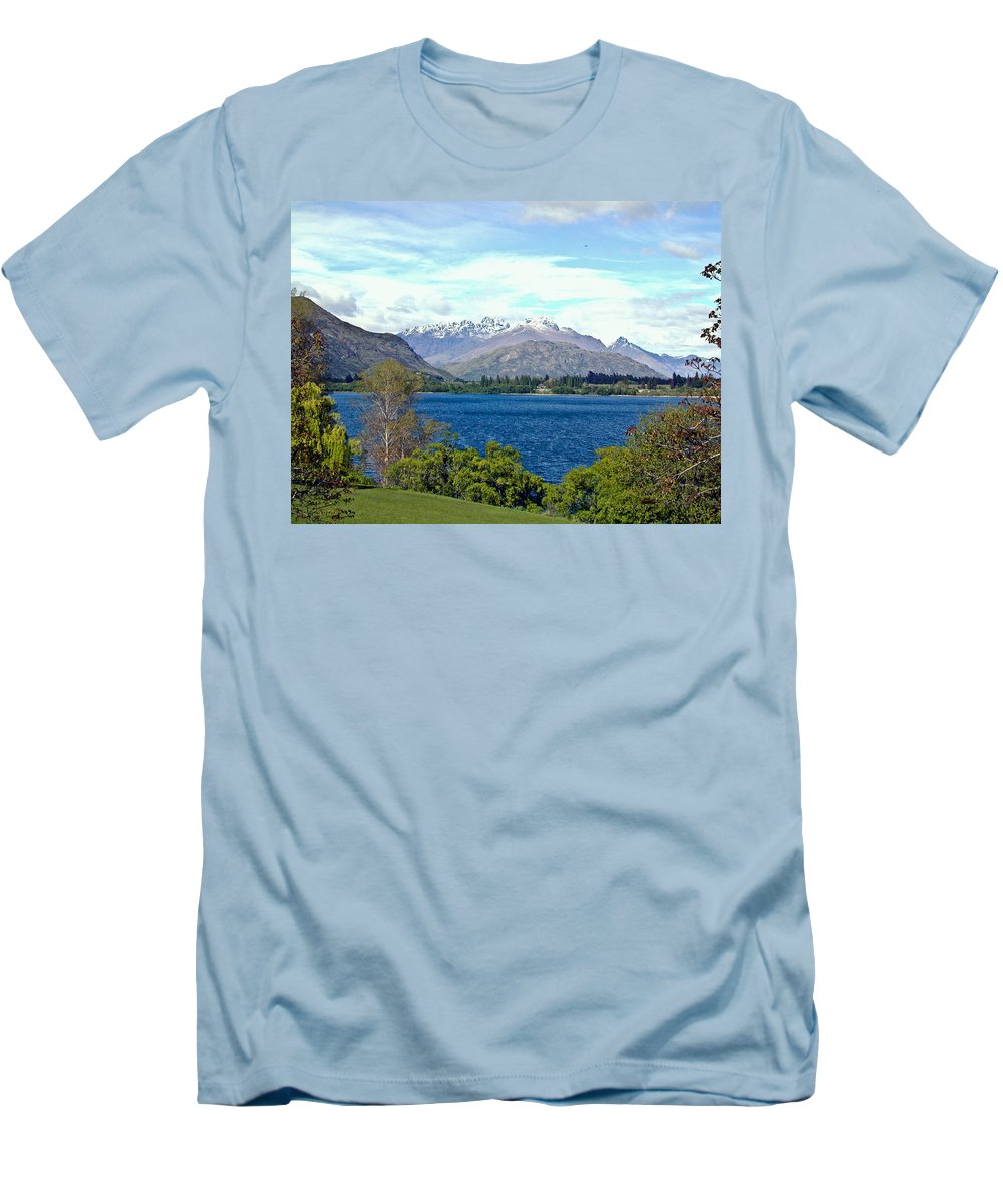 Lake Men's T-Shirt (Athletic Fit) featuring the photograph Peaceful Lake -- New Zealand by Douglas Barnett