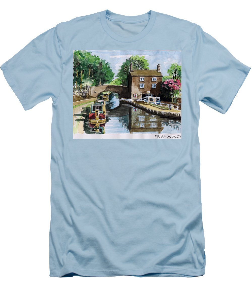 House Men's T-Shirt (Athletic Fit) featuring the painting Peacfull House On The Lake by Alban Dizdari