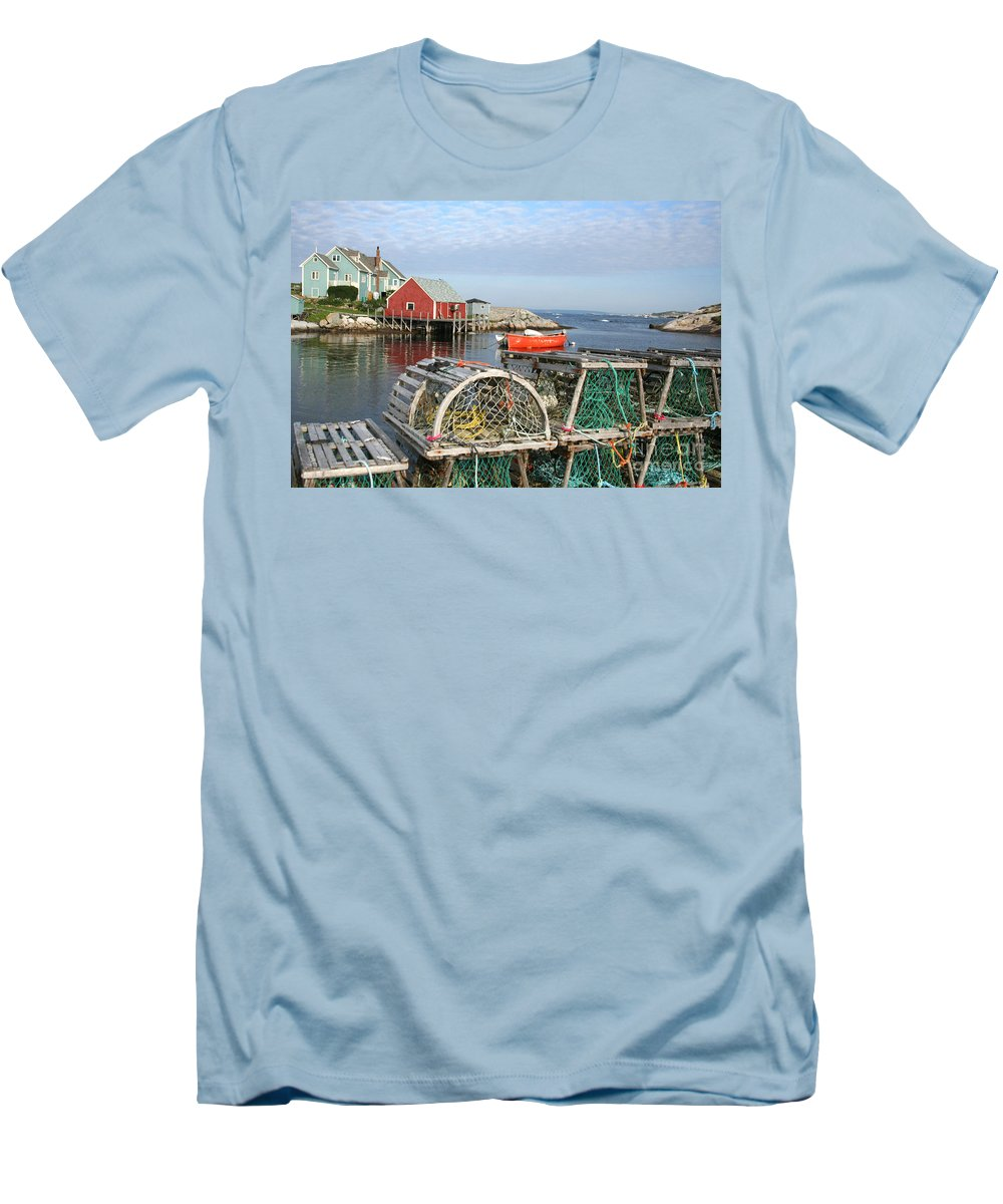Peggy\\ Men's T-Shirt (Athletic Fit) featuring the photograph Peggys Cove And Lobster Traps by Thomas Marchessault