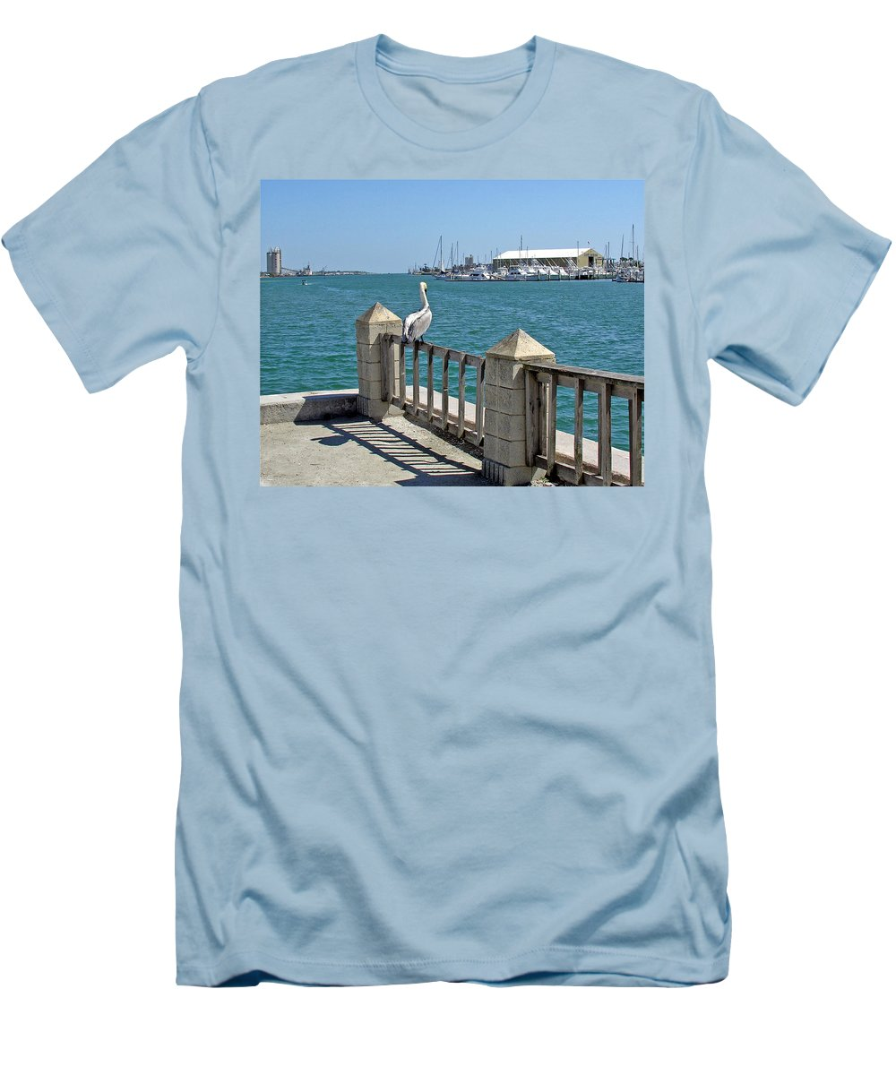 Port; Canaveral; Pelican; Gaze; Florida; Wildlife; Florida; Harbor; Atlantic; Ocean; Sea; Bird; Wate Men's T-Shirt (Athletic Fit) featuring the photograph Pelican Gazing At Port Canaveral In Florida by Allan Hughes